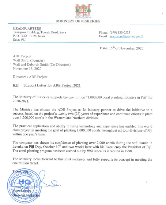 Fiji Ministry of Fisheries letter supporting the ADE Project Fiji