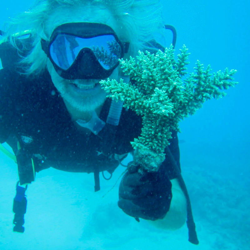 Walt Smith showing off a coral from one of the racks that is ready for the reef. ADE Project Fiji